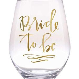 Slant Jumbo Stemless Wine Glass - Bride to be